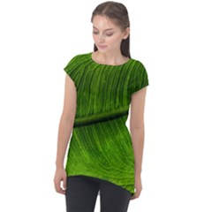 Green Leaf Plant Freshness Color Cap Sleeve High Low Top by Pakrebo