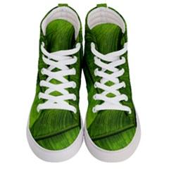Green Leaf Plant Freshness Color Men s Hi Top Skate Sneakers