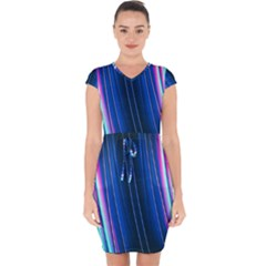 Abstract Fractal Pattern Lines Capsleeve Drawstring Dress