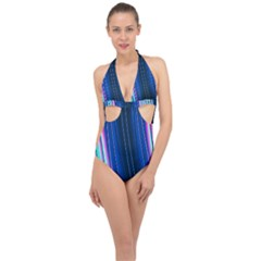 Abstract Fractal Pattern Lines Halter Front Plunge Swimsuit