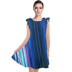 Abstract Fractal Pattern Lines Tie Up Tunic Dress