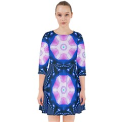 Abstract Fractal Pattern Colorful Smock Dress