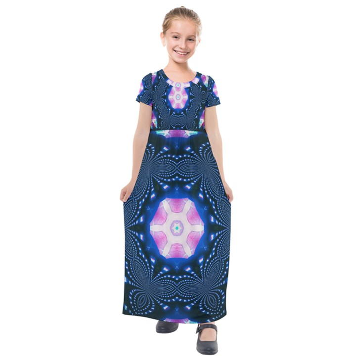 Abstract Fractal Pattern Colorful Kids  Short Sleeve Maxi Dress