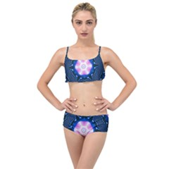 Abstract Fractal Pattern Colorful Layered Top Bikini Set