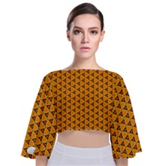 Digital Art Art Artwork Abstract Tie Back Butterfly Sleeve Chiffon Top