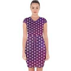 Texture Background Pattern Capsleeve Drawstring Dress