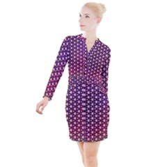 Texture Background Pattern Button Long Sleeve Dress