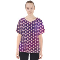 Texture Background Pattern V Neck Dolman Drape Top