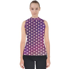 Texture Background Pattern Mock Neck Shell Top