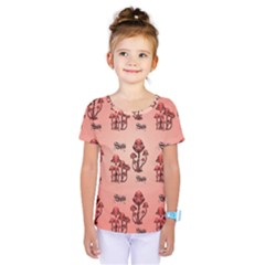 Funny Mushroom Pattern Kids  One Piece Tee by FantasyWorld7