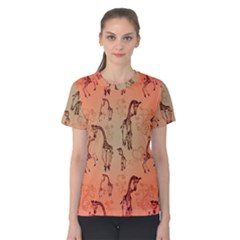 Cute Giraffe Pattern Women s Cotton Tee