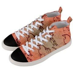 Cute Giraffe Pattern Men s Mid-top Canvas Sneakers by FantasyWorld7