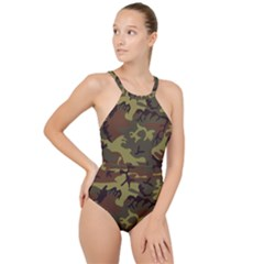 Camo Green Brown High Neck One Piece Swimsuit