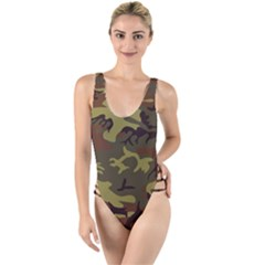 Camo Green Brown High Leg Strappy Swimsuit