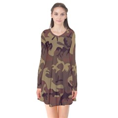 Camo Dark Brown Long Sleeve V Neck Flare Dress