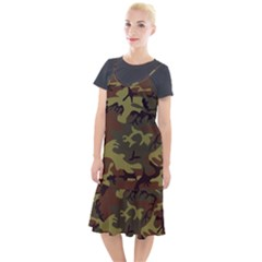 Camo Green Brown Camis Fishtail Dress by retrotoomoderndesigns