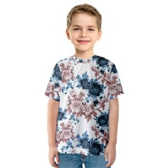 Rose And Blue Drawing Flowers Kids  Sport Mesh Tee by goljakoff