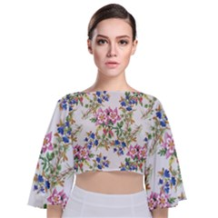 Watercolor Flowers Pattern Tie Back Butterfly Sleeve Chiffon Top by goljakoff