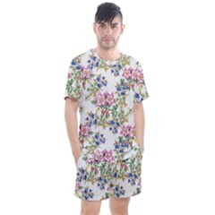 Watercolor Flowers Pattern Men s Mesh Tee And Shorts Set by goljakoff