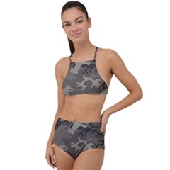 Camo Grey High Waist Tankini Set
