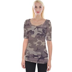 Camo Light Brown Wide Neckline Tee