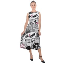 Feminism Collage  Midi Tie Back Chiffon Dress by Valentinaart