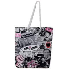 Feminism Collage  Full Print Rope Handle Tote (large)