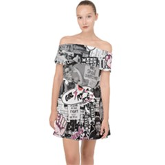 Feminism Collage  Off Shoulder Chiffon Dress