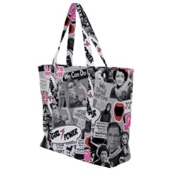 Feminism Collage  Zip Up Canvas Bag