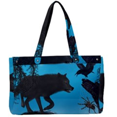 Awesome Black Wolf With Crow And Spider Canvas Work Bag