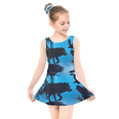 Awesome Black Wolf With Crow And Spider Kids  Skater Dress Swimsuit by FantasyWorld7