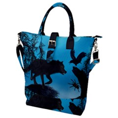 Awesome Black Wolf With Crow And Spider Buckle Top Tote Bag