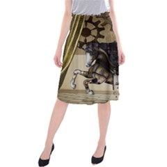 Awesome Steampunk Unicorn With Wings Midi Beach Skirt