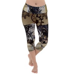 Awesome Steampunk Unicorn With Wings Lightweight Velour Capri Yoga Leggings