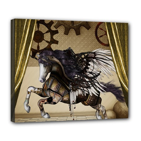 Awesome Steampunk Unicorn With Wings Deluxe Canvas 24  X 20  (stretched) by FantasyWorld7