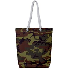 Camo Green Brown Full Print Rope Handle Tote (small)