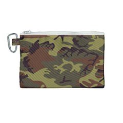 Camo Green Brown Canvas Cosmetic Bag (medium)