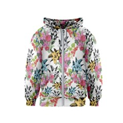 Drawing Colorful Flowers Kids  Zipper Hoodie by goljakoff