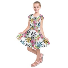 Drawing Colorful Flowers Kids  Short Sleeve Dress by goljakoff