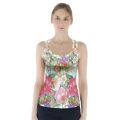 Watercolor Flowers Racer Back Sports Top