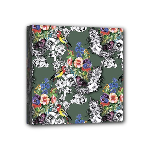 Vintage flowers and birds pattern Mini Canvas 4  x 4  (Stretched)
