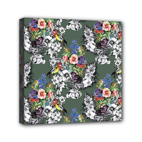 Vintage flowers and birds pattern Mini Canvas 6  x 6  (Stretched)
