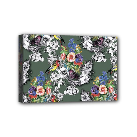 Vintage flowers and birds pattern Mini Canvas 6  x 4  (Stretched)