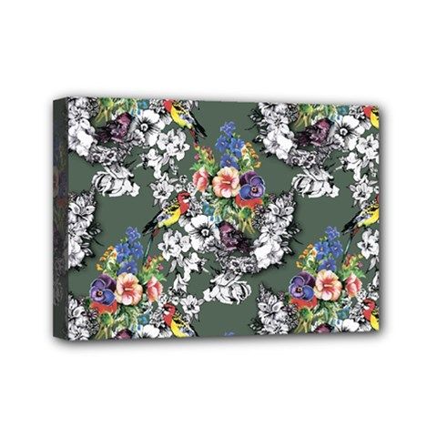Vintage flowers and birds pattern Mini Canvas 7  x 5  (Stretched)