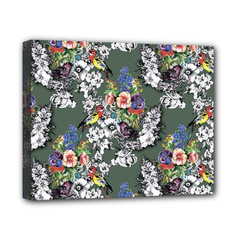 Vintage flowers and birds pattern Canvas 10  x 8  (Stretched)