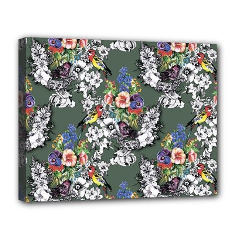 Vintage flowers and birds pattern Canvas 14  x 11  (Stretched)