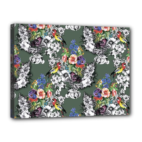 Vintage flowers and birds pattern Canvas 16  x 12  (Stretched)