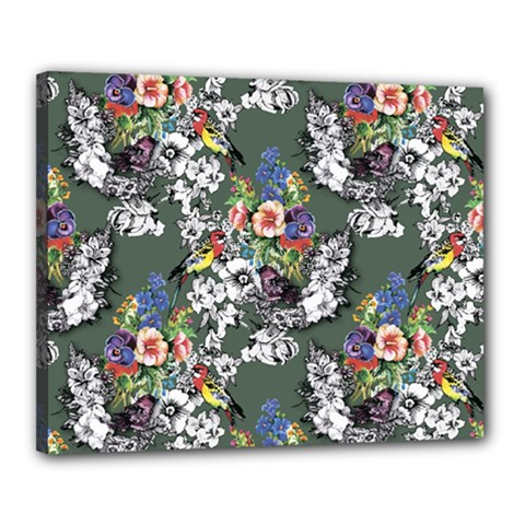 Vintage flowers and birds pattern Canvas 20  x 16  (Stretched)