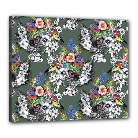 Vintage flowers and birds pattern Canvas 24  x 20  (Stretched)