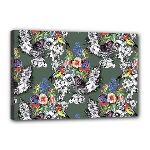 Vintage flowers and birds pattern Canvas 18  x 12  (Stretched)